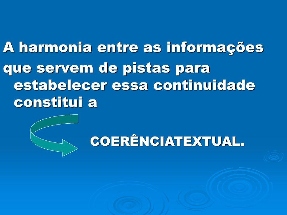 A harmonia entre as informações que servem de pistas para estabelecer essa continuidade constitui a COERÊNCIATEXTUAL.
