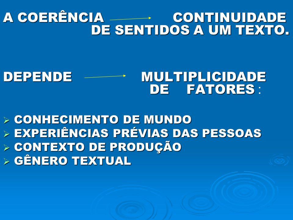 A COERÊNCIA CONTINUIDADE DE SENTIDOS A UM TEXTO. DEPENDE MULTIPLICIDADE DE FATORES DEPENDE MULTIPLICIDADE DE FATORES : CONHECIMENTO DE MUNDO CONHECIME