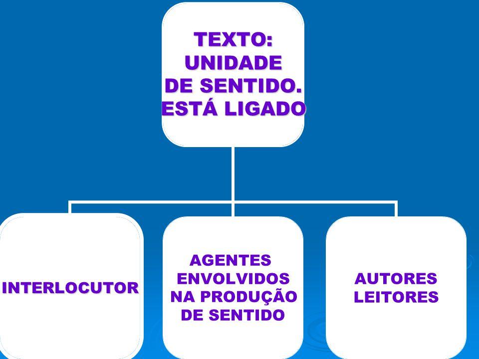 TEXTO: UNIDADE UNIDADE DE SENTIDO. ESTÁ LIGADO INTERLOCUTOR AGENTES ENVOLVIDOS NA PRODUÇÃO DE SENTIDO AUTORES LEITORES