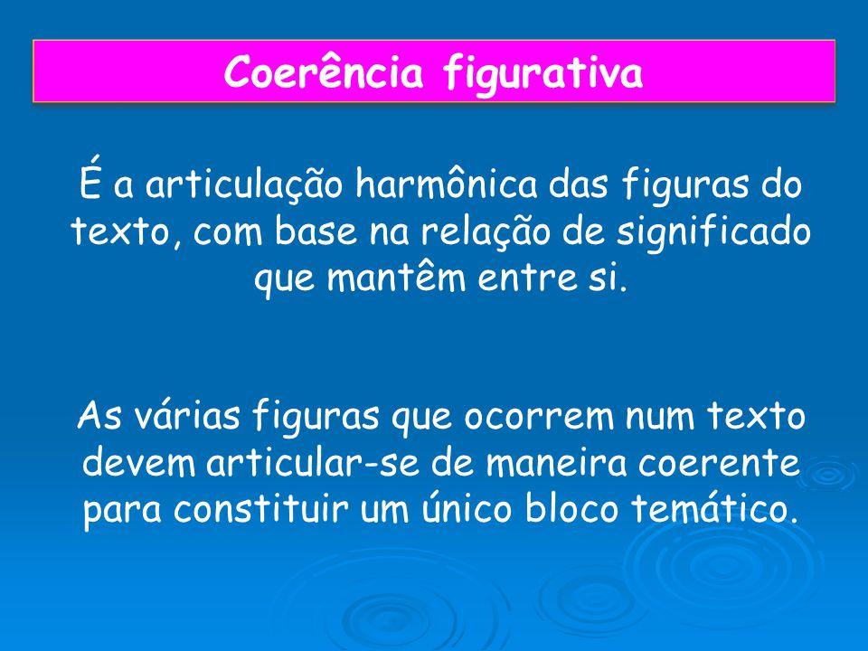 Coerência figurativa É a articulação harmônica das figuras do texto, com base na relação de significado que mantêm entre si. As várias figuras que oco