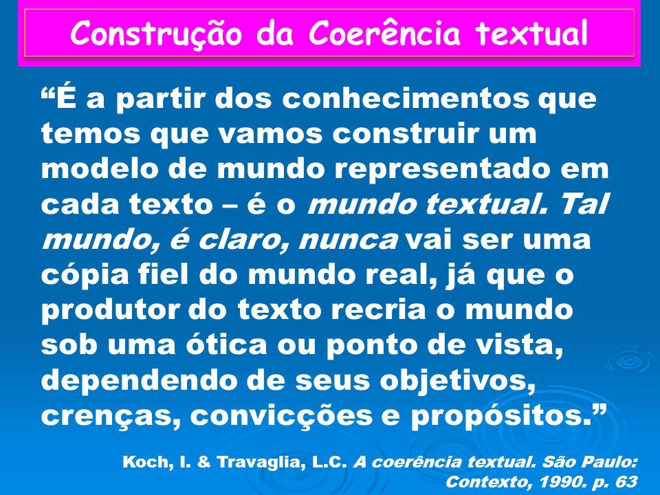 Construção da Coerência textual É a partir dos conhecimentos que temos que vamos construir um modelo de mundo representado em cada texto – é o mundo textual.