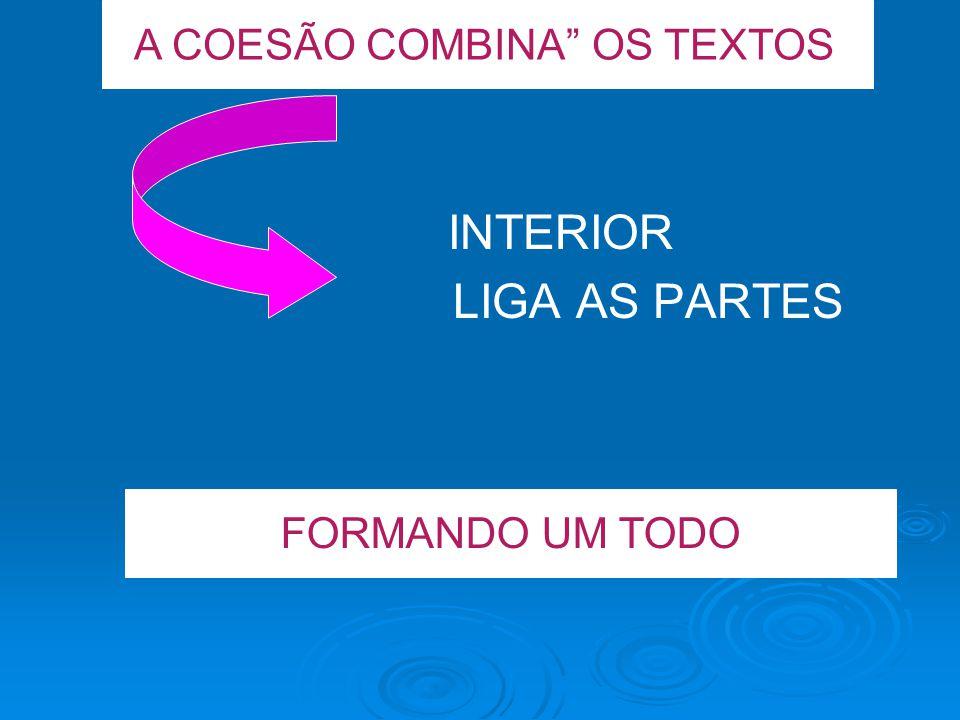 INTERIOR LIGA AS PARTES A COESÃO COMBINA OS TEXTOS FORMANDO UM TODO