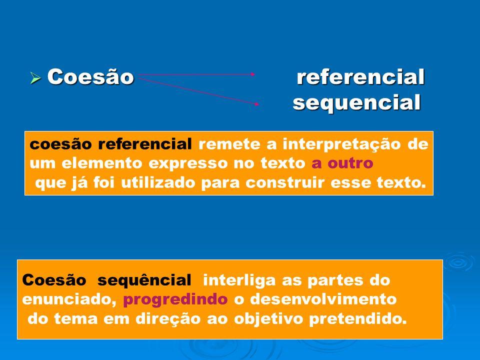 Coesão referencial sequencial Coesão referencial sequencial coesão referencial remete a interpretação de um elemento expresso no texto a outro que já foi utilizado para construir esse texto.