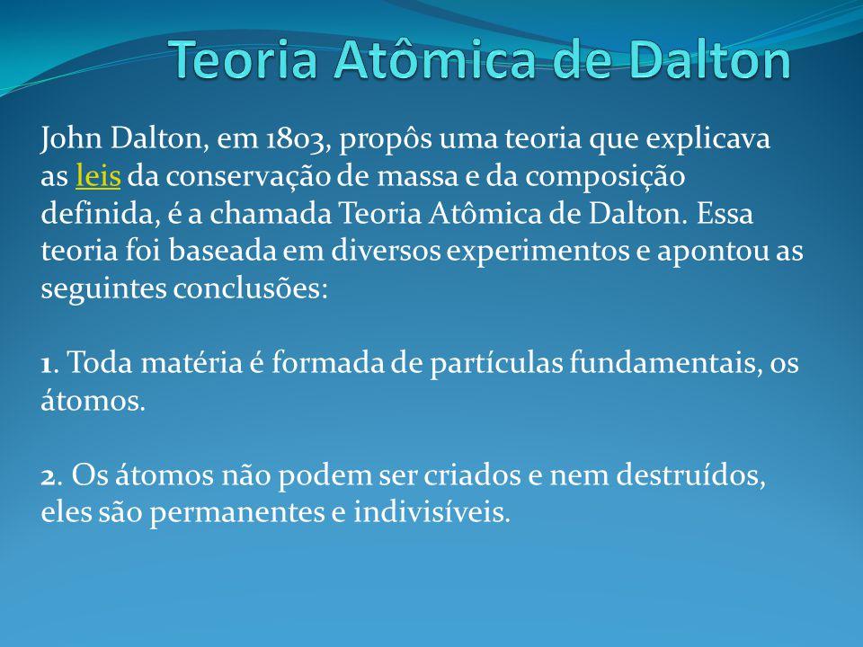 John Dalton, em 1803, propôs uma teoria que explicava as leis da conservação de massa e da composição definida, é a chamada Teoria Atômica de Dalton.