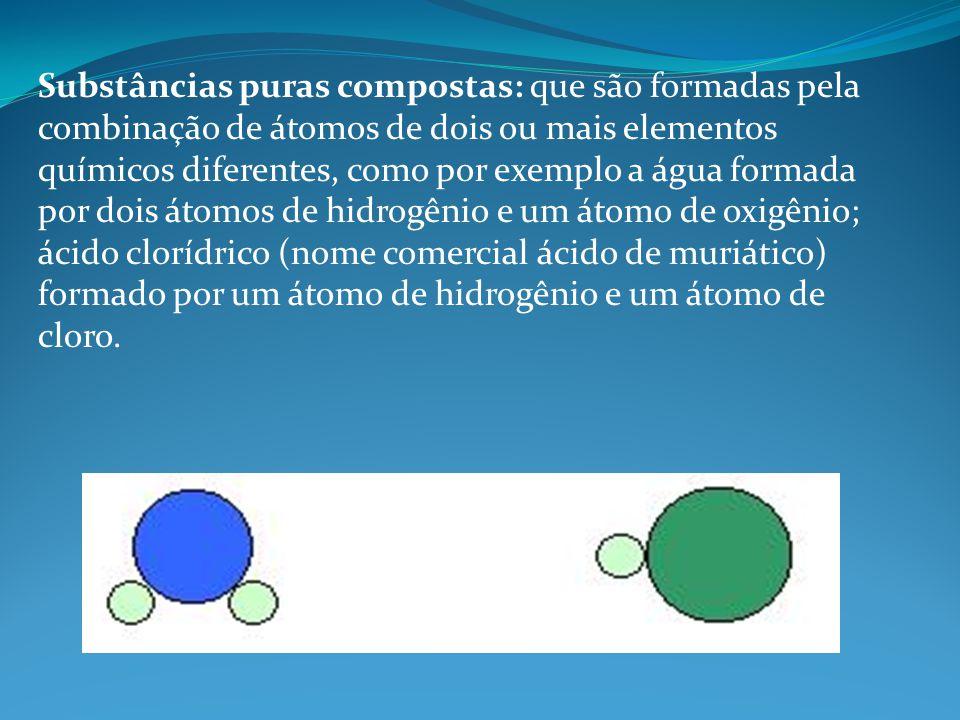 Substâncias puras compostas: que são formadas pela combinação de átomos de dois ou mais elementos químicos diferentes, como por exemplo a água formada