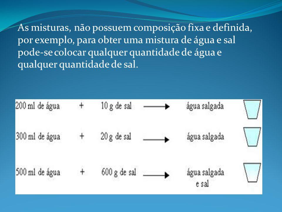 As misturas, não possuem composição fixa e definida, por exemplo, para obter uma mistura de água e sal pode-se colocar qualquer quantidade de água e q