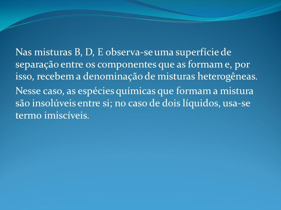 Nas misturas B, D, E observa-se uma superfície de separação entre os componentes que as formam e, por isso, recebem a denominação de misturas heterogê