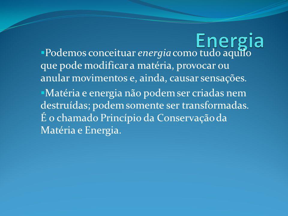 Podemos conceituar energia como tudo aquilo que pode modificar a matéria, provocar ou anular movimentos e, ainda, causar sensações. Matéria e energia