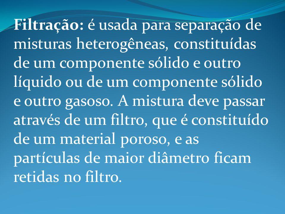 Filtração: é usada para separação de misturas heterogêneas, constituídas de um componente sólido e outro líquido ou de um componente sólido e outro ga