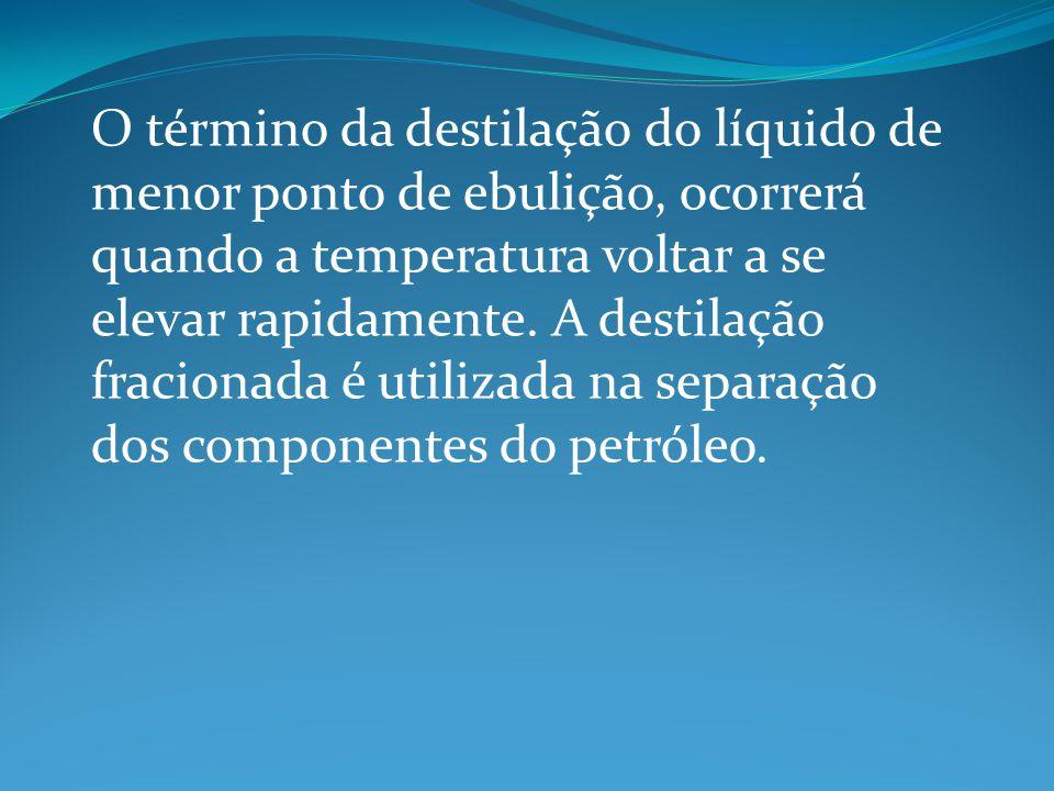 O término da destilação do líquido de menor ponto de ebulição, ocorrerá quando a temperatura voltar a se elevar rapidamente. A destilação fracionada é