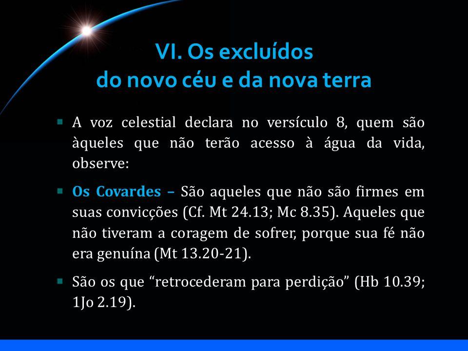 VI. Os excluídos do novo céu e da nova terra A voz celestial declara no versículo 8, quem são àqueles que não terão acesso à água da vida, observe: Os