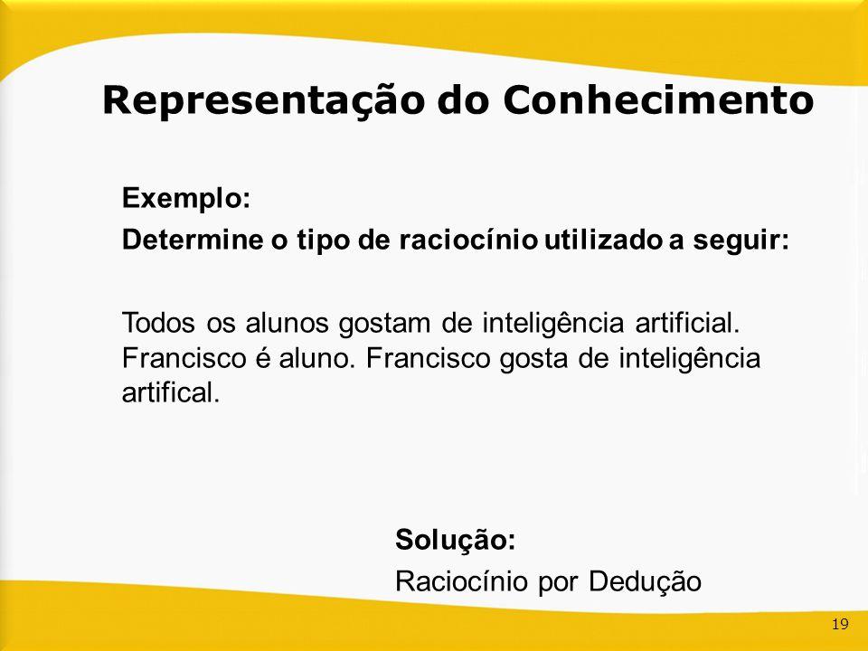 19 Representação do Conhecimento Exemplo: Determine o tipo de raciocínio utilizado a seguir: Todos os alunos gostam de inteligência artificial. Franci