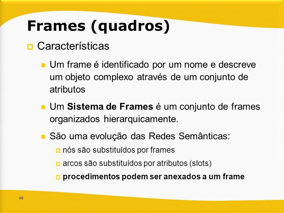 49 Frames (quadros) Características Um frame é identificado por um nome e descreve um objeto complexo através de um conjunto de atributos Um Sistema d