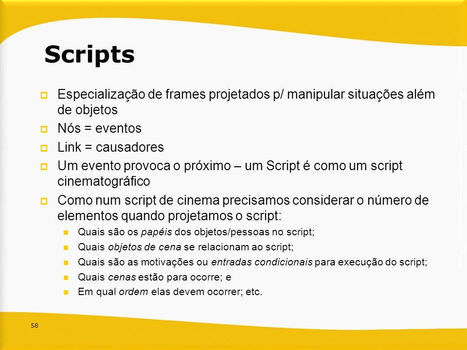 58 Scripts Especialização de frames projetados p/ manipular situações além de objetos Nós = eventos Link = causadores Um evento provoca o próximo – um