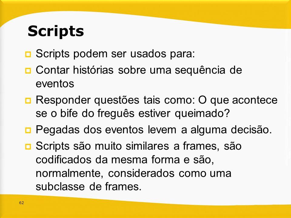 62 Scripts Scripts podem ser usados para: Contar histórias sobre uma sequência de eventos Responder questões tais como: O que acontece se o bife do fr