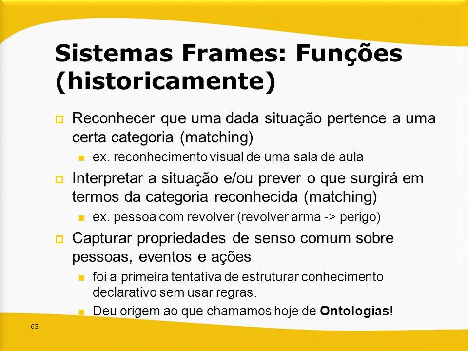 63 Sistemas Frames: Funções (historicamente) Reconhecer que uma dada situação pertence a uma certa categoria (matching) ex. reconhecimento visual de u