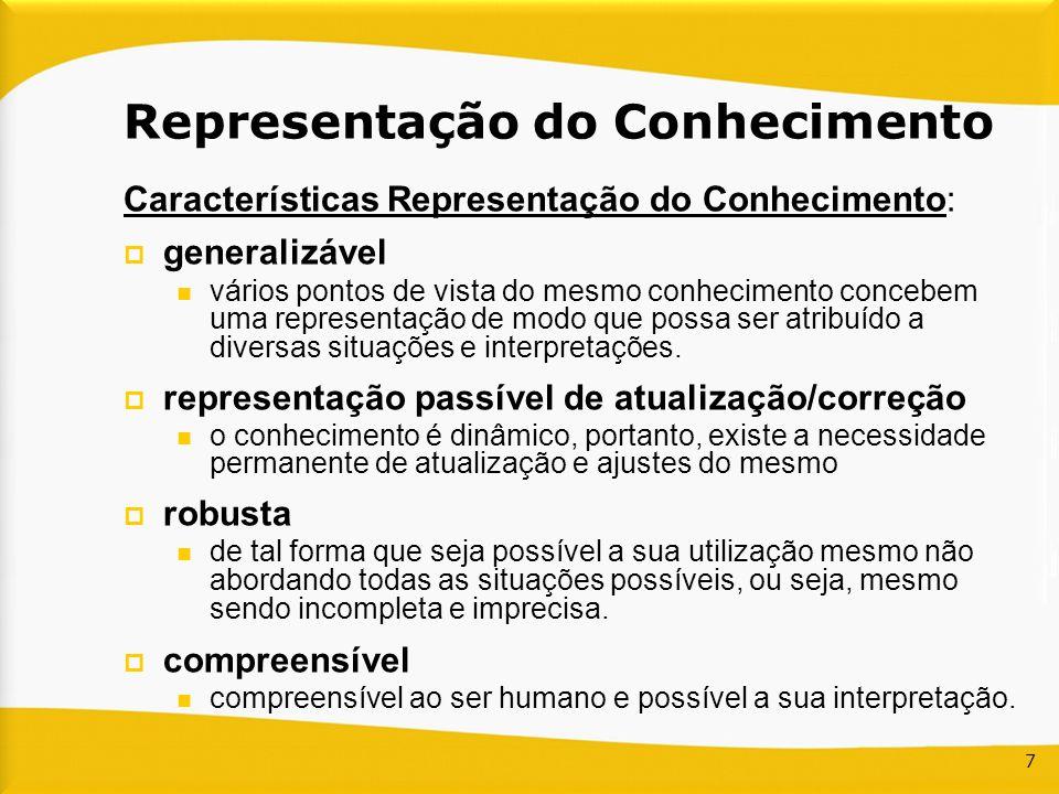7 Características Representação do Conhecimento: generalizável vários pontos de vista do mesmo conhecimento concebem uma representação de modo que pos