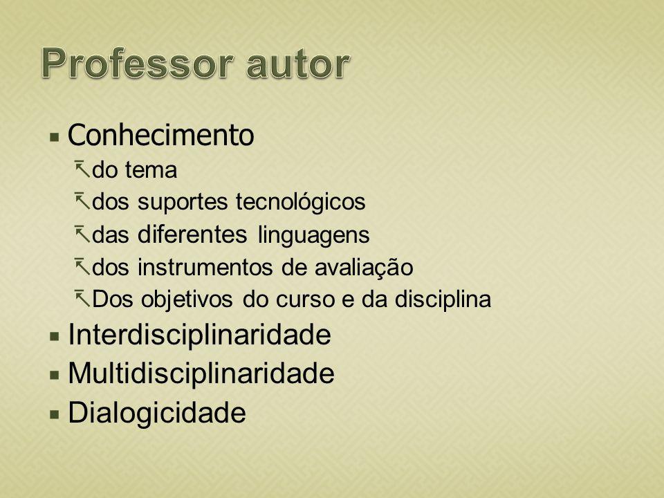 Conhecimento do tema dos suportes tecnológicos das diferentes linguagens dos instrumentos de avaliação Dos objetivos do curso e da disciplina Interdis