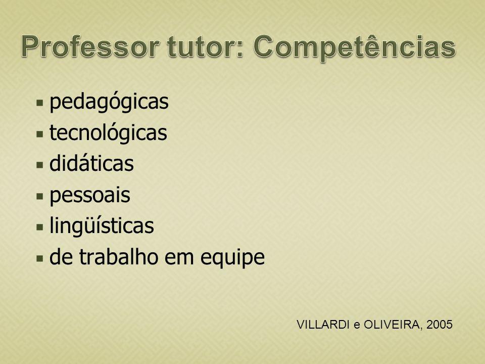 pedagógicas tecnológicas didáticas pessoais lingüísticas de trabalho em equipe VILLARDI e OLIVEIRA, 2005