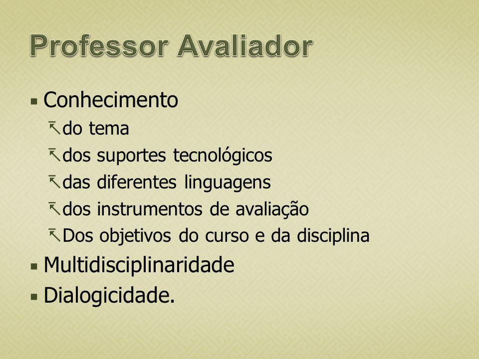 Conhecimento do tema dos suportes tecnológicos das diferentes linguagens dos instrumentos de avaliação Dos objetivos do curso e da disciplina Multidis