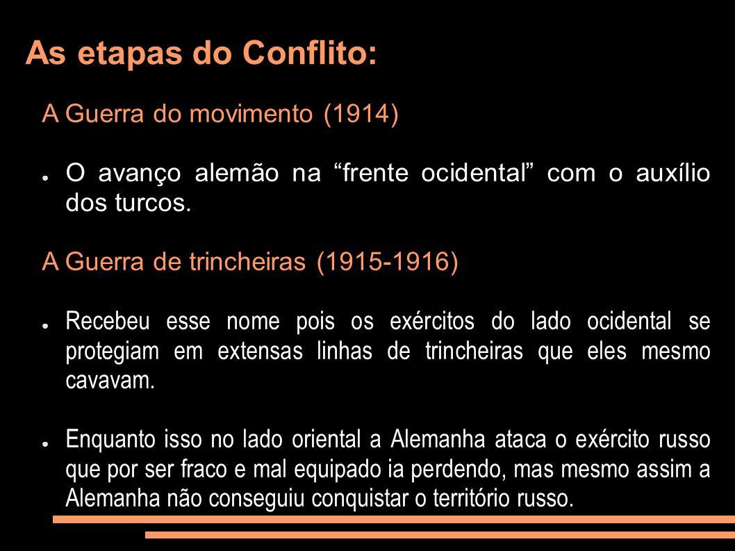 As etapas do Conflito: A Guerra do movimento (1914) O avanço alemão na frente ocidental com o auxílio dos turcos. A Guerra de trincheiras (1915-1916)
