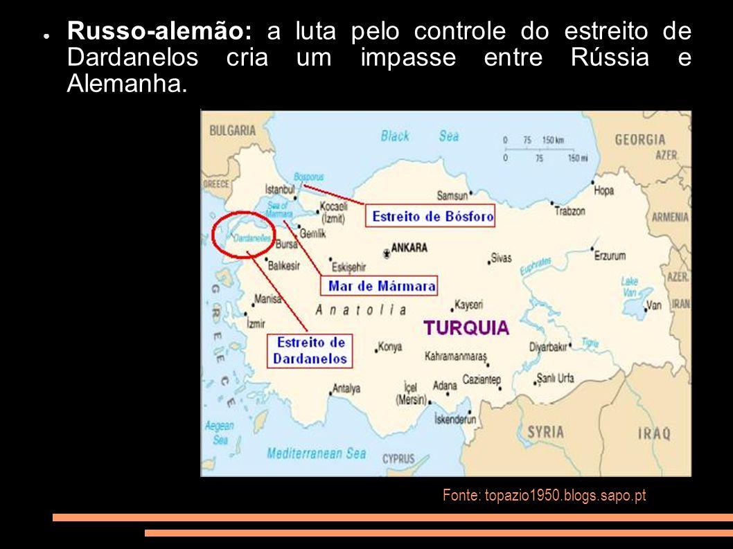 Russo-alemão: a luta pelo controle do estreito de Dardanelos cria um impasse entre Rússia e Alemanha. Fonte: topazio1950.blogs.sapo.pt