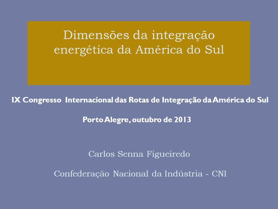 Dimensões da integração energética da América do Sul Carlos Senna Figueiredo Confederação Nacional da Indústria - CNI IX Congresso Internacional das Rotas de Integração da América do Sul Porto Alegre, outubro de 2013