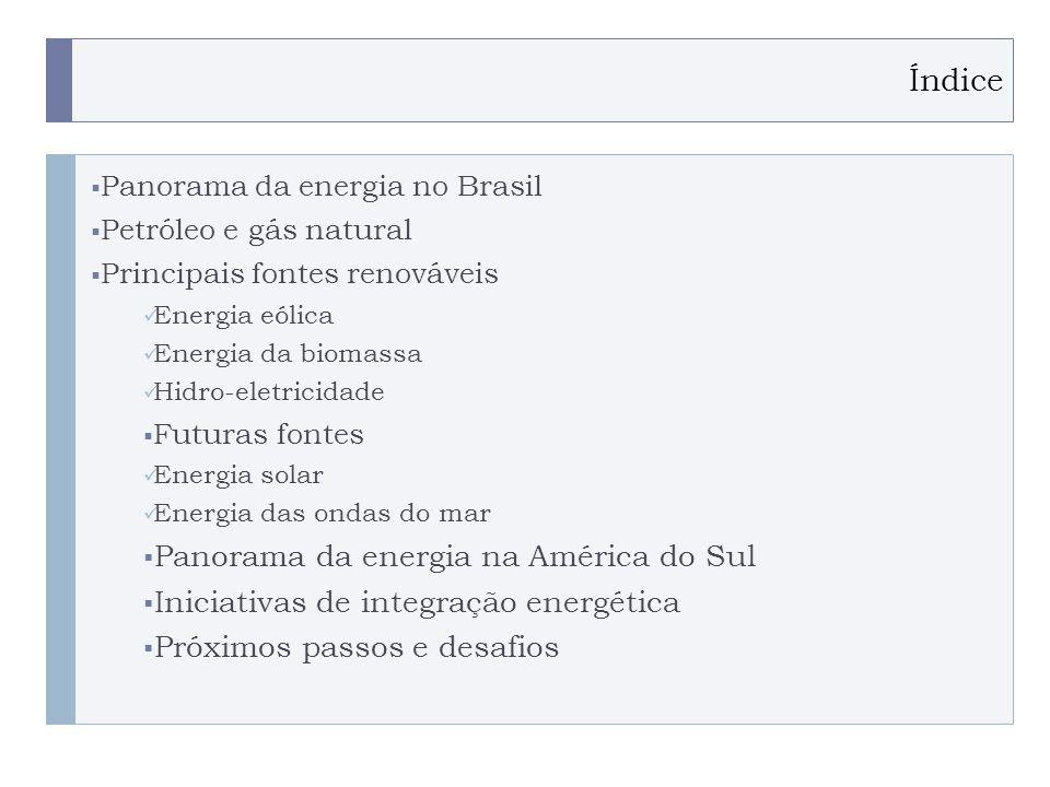 PROGRAMA PLACTED Índice Panorama da energia no Brasil Petróleo e gás natural Principais fontes renováveis Energia eólica Energia da biomassa Hidro-eletricidade Futuras fontes Energia solar Energia das ondas do mar Panorama da energia na América do Sul Iniciativas de integração energética Próximos passos e desafios