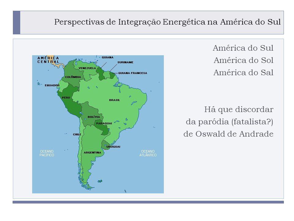 PROGRAMA PLACTED Perspectivas de Integração Energética na América do Sul América do Sul América do Sol América do Sal Há que discordar da paródia (fatalista?) de Oswald de Andrade