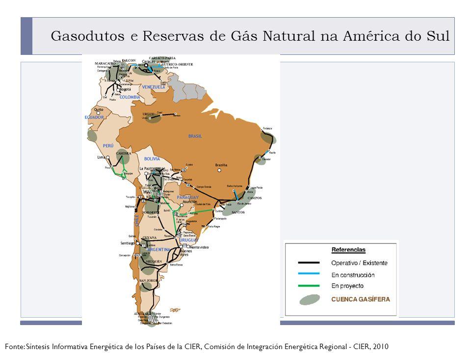 PROGRAMA PLACTED Gasodutos e Reservas de Gás Natural na América do Sul Fonte: Síntesis Informativa Energética de los Países de la CIER, Comisión de Integración Energética Regional - CIER, 2010