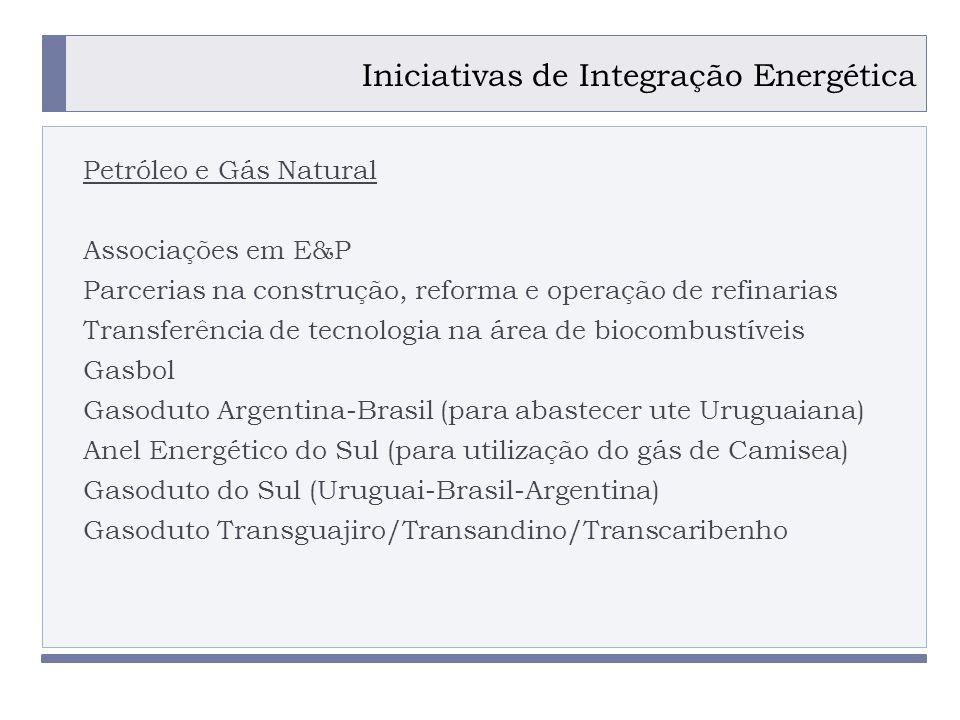 PROGRAMA PLACTED Iniciativas de Integração Energética Petróleo e Gás Natural Associações em E&P Parcerias na construção, reforma e operação de refinarias Transferência de tecnologia na área de biocombustíveis Gasbol Gasoduto Argentina-Brasil (para abastecer ute Uruguaiana) Anel Energético do Sul (para utilização do gás de Camisea) Gasoduto do Sul (Uruguai-Brasil-Argentina) Gasoduto Transguajiro/Transandino/Transcaribenho