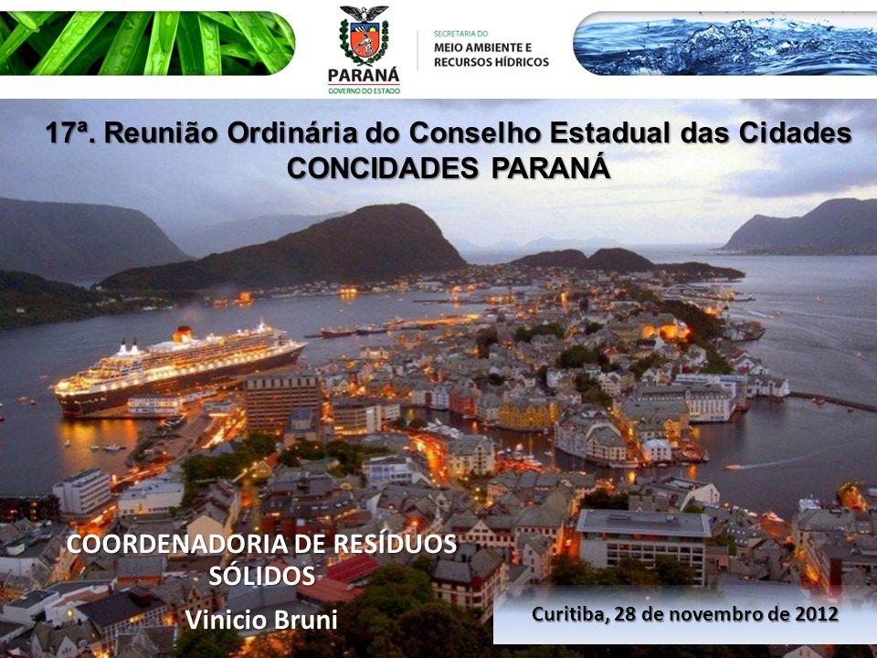 COORDENADORIA DE RESÍDUOS SÓLIDOS Vinicio Bruni Curitiba, 28 de novembro de 2012 17ª. Reunião Ordinária do Conselho Estadual das Cidades CONCIDADES PA