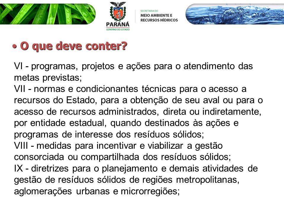 VI - programas, projetos e ações para o atendimento das metas previstas; VII - normas e condicionantes técnicas para o acesso a recursos do Estado, pa