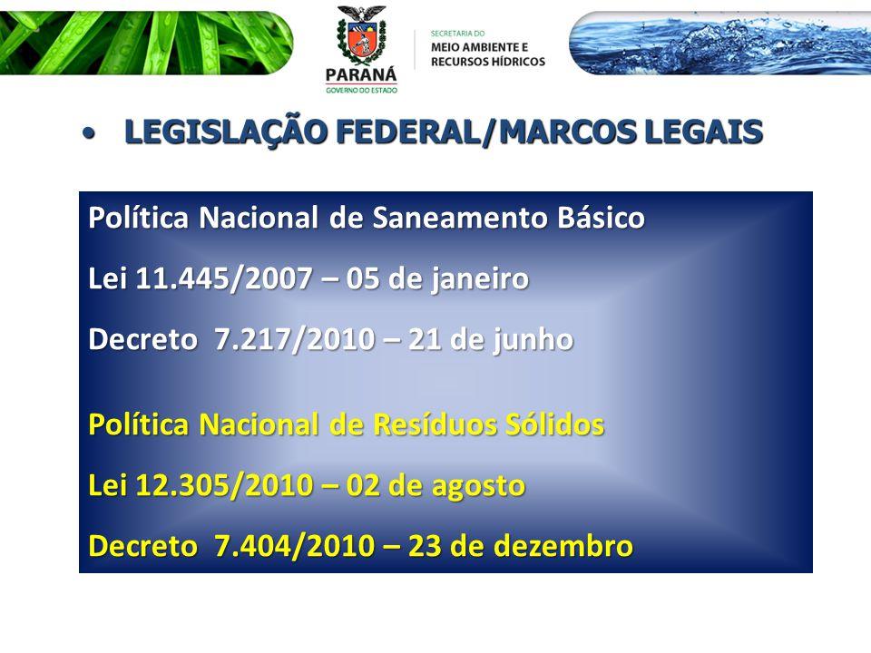 LEGISLAÇÃO FEDERAL/MARCOS LEGAISLEGISLAÇÃO FEDERAL/MARCOS LEGAIS Política Nacional de Saneamento Básico Lei 11.445/2007 – 05 de janeiro Decreto 7.217/