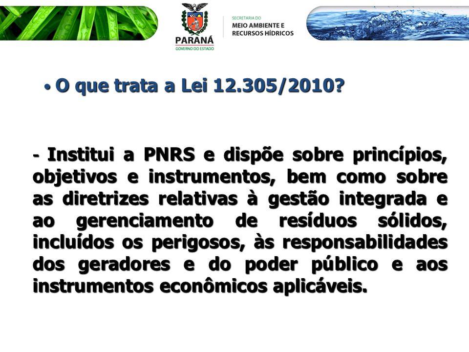O que trata a Lei 12.305/2010? O que trata a Lei 12.305/2010? - Institui a PNRS e dispõe sobre princípios, objetivos e instrumentos, bem como sobre as