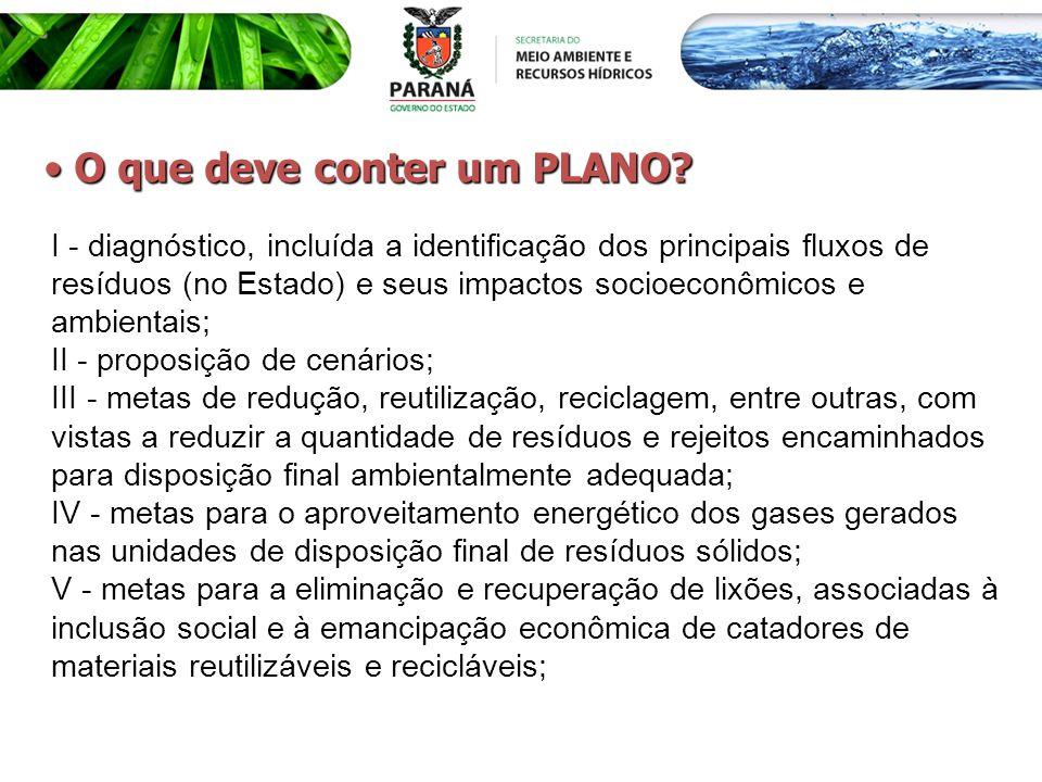 I - diagnóstico, incluída a identificação dos principais fluxos de resíduos (no Estado) e seus impactos socioeconômicos e ambientais; II - proposição