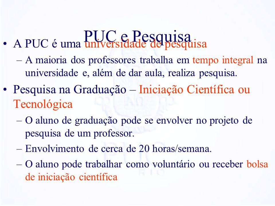 PUC e Pesquisa A PUC é uma universidade de pesquisa –A maioria dos professores trabalha em tempo integral na universidade e, além de dar aula, realiza