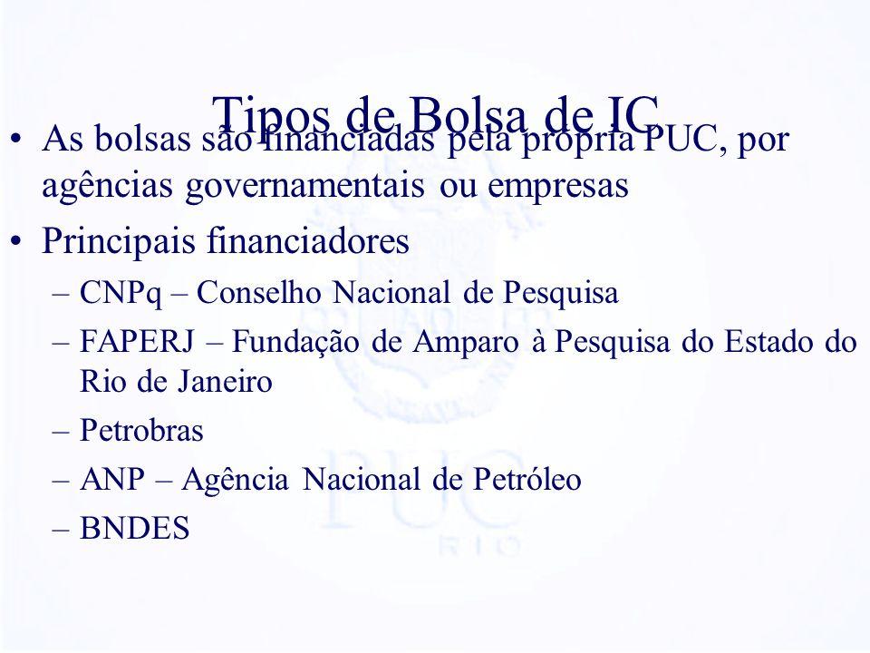 Tipos de Bolsa de IC As bolsas são financiadas pela própria PUC, por agências governamentais ou empresas Principais financiadores –CNPq – Conselho Nacional de Pesquisa –FAPERJ – Fundação de Amparo à Pesquisa do Estado do Rio de Janeiro –Petrobras –ANP – Agência Nacional de Petróleo –BNDES