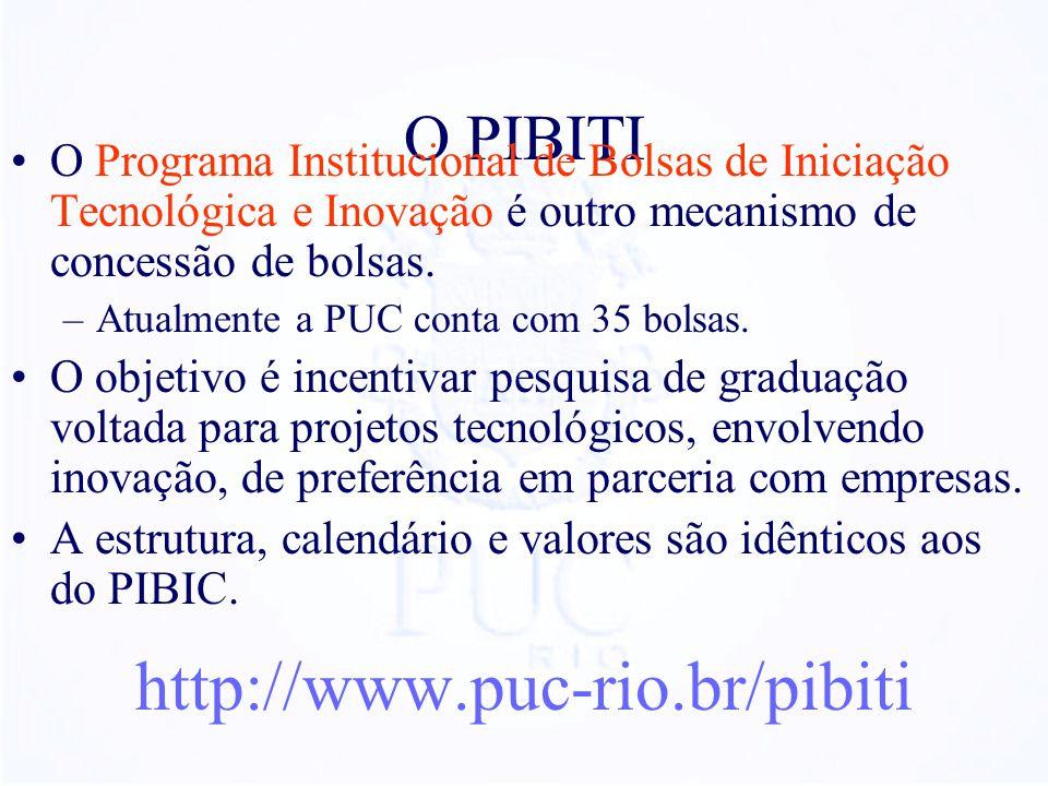 O PIBITI O Programa Institucional de Bolsas de Iniciação Tecnológica e Inovação é outro mecanismo de concessão de bolsas. –Atualmente a PUC conta com