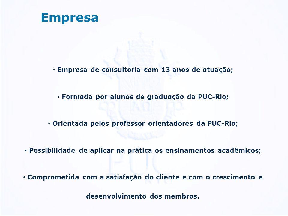 Empresa Empresa de consultoria com 13 anos de atuação; Formada por alunos de graduação da PUC-Rio; Orientada pelos professor orientadores da PUC-Rio; Possibilidade de aplicar na prática os ensinamentos acadêmicos; Comprometida com a satisfação do cliente e com o crescimento e desenvolvimento dos membros.