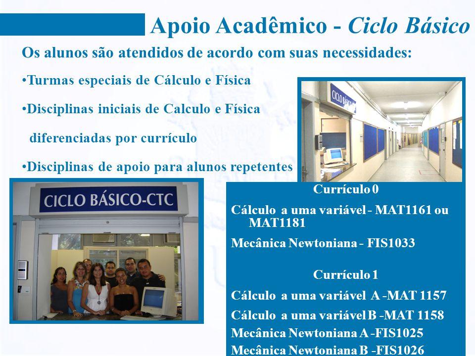 Apoio Acadêmico - Ciclo Básico Os alunos são atendidos de acordo com suas necessidades: Turmas especiais de Cálculo e Física Disciplinas iniciais de C