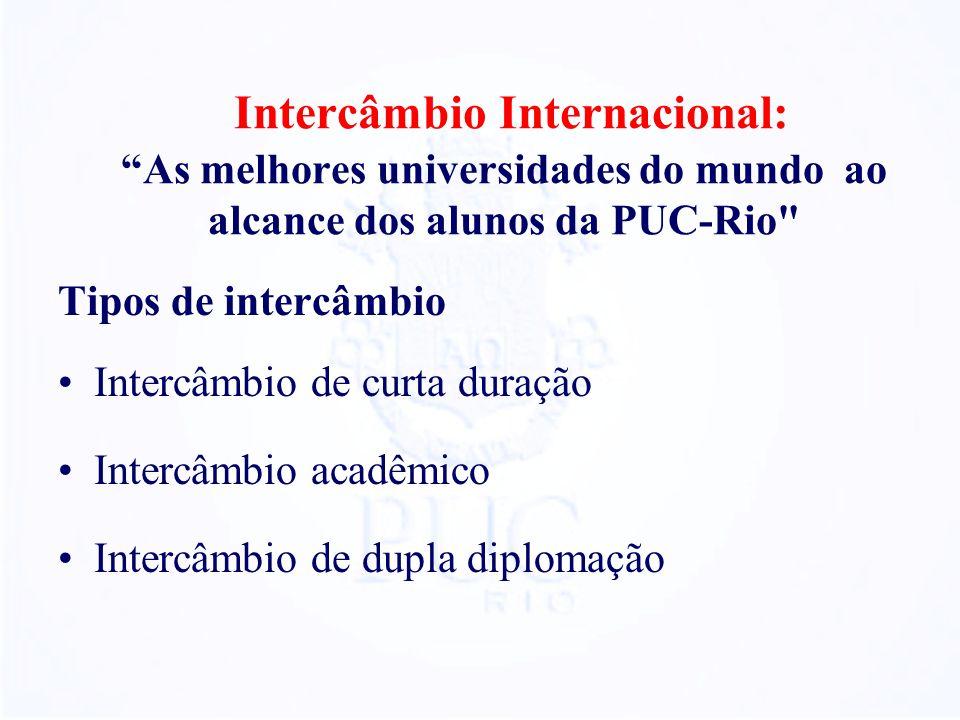 Intercâmbio Internacional: As melhores universidades do mundo ao alcance dos alunos da PUC-Rio Tipos de intercâmbio Intercâmbio de curta duração Intercâmbio acadêmico Intercâmbio de dupla diplomação