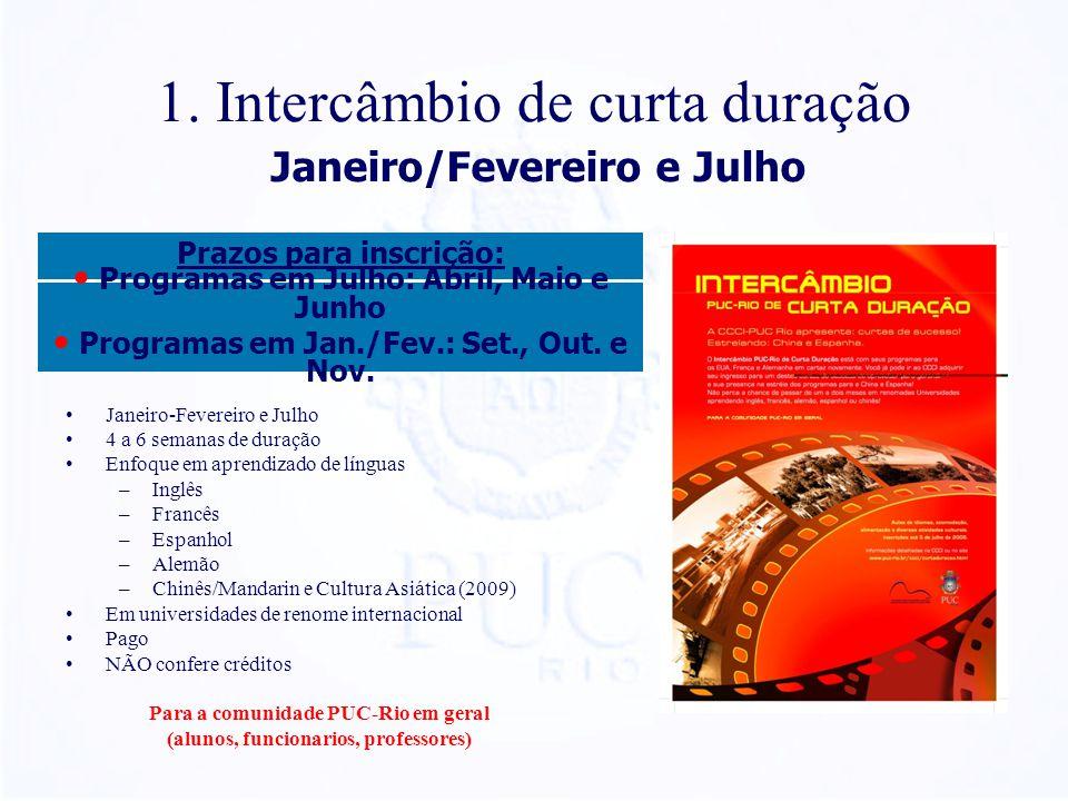 1. Intercâmbio de curta duração Janeiro-Fevereiro e Julho 4 a 6 semanas de duração Enfoque em aprendizado de línguas –Inglês –Francês –Espanhol –Alemã