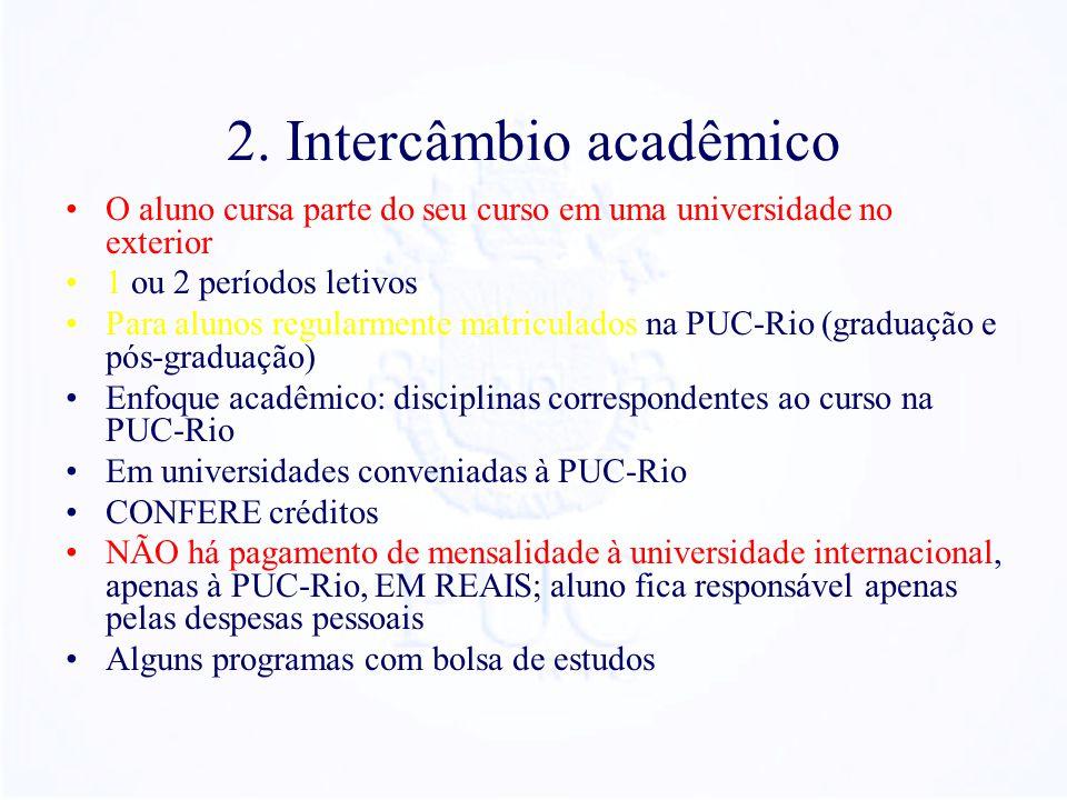 2. Intercâmbio acadêmico O aluno cursa parte do seu curso em uma universidade no exterior 1 ou 2 períodos letivos Para alunos regularmente matriculado