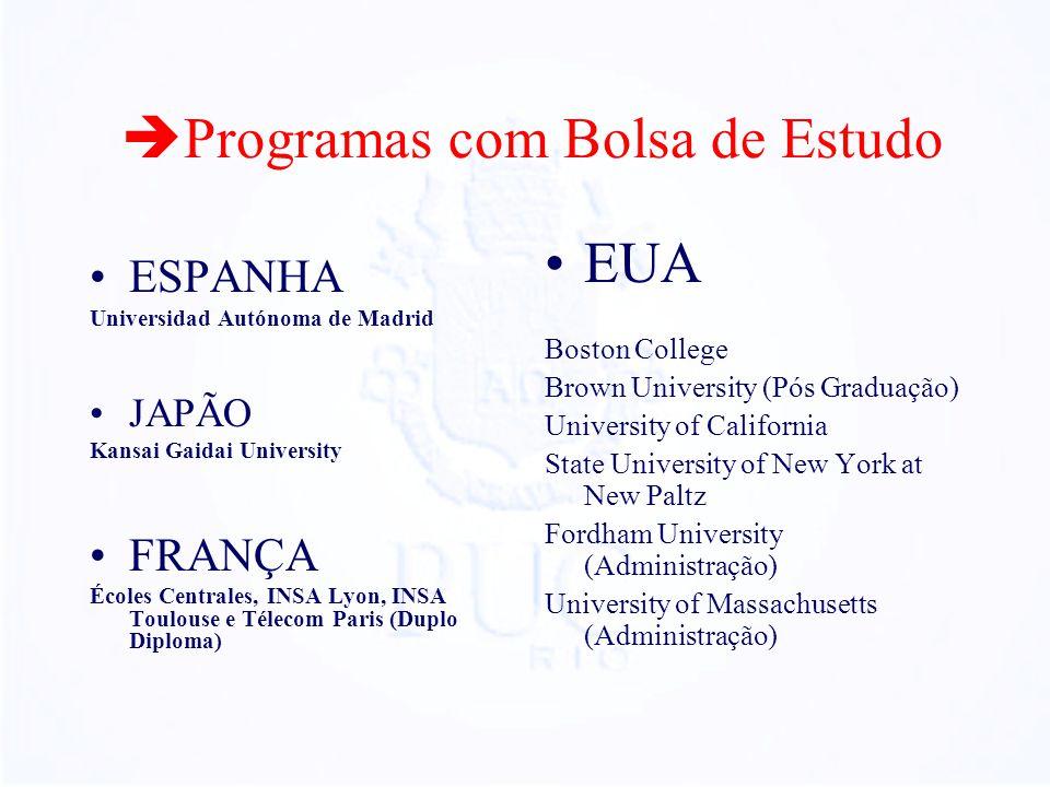 Programas com Bolsa de Estudo ESPANHA Universidad Autónoma de Madrid JAPÃO Kansai Gaidai University FRANÇA Écoles Centrales, INSA Lyon, INSA Toulouse
