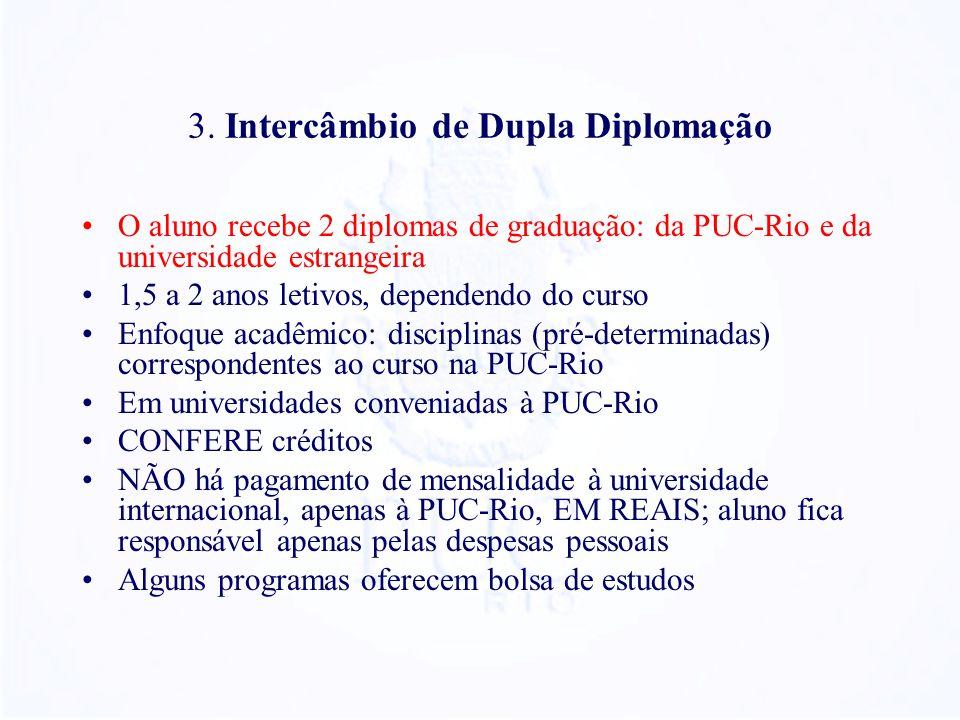 3. Intercâmbio de Dupla Diplomação O aluno recebe 2 diplomas de graduação: da PUC-Rio e da universidade estrangeira 1,5 a 2 anos letivos, dependendo d