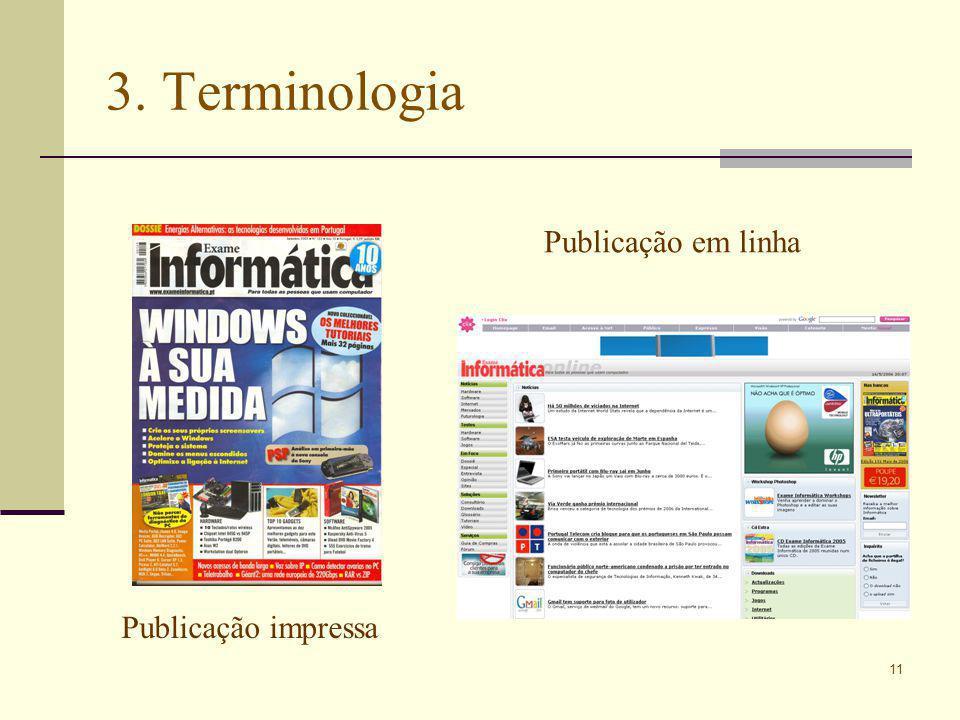 11 3. Terminologia Publicação impressa Publicação em linha