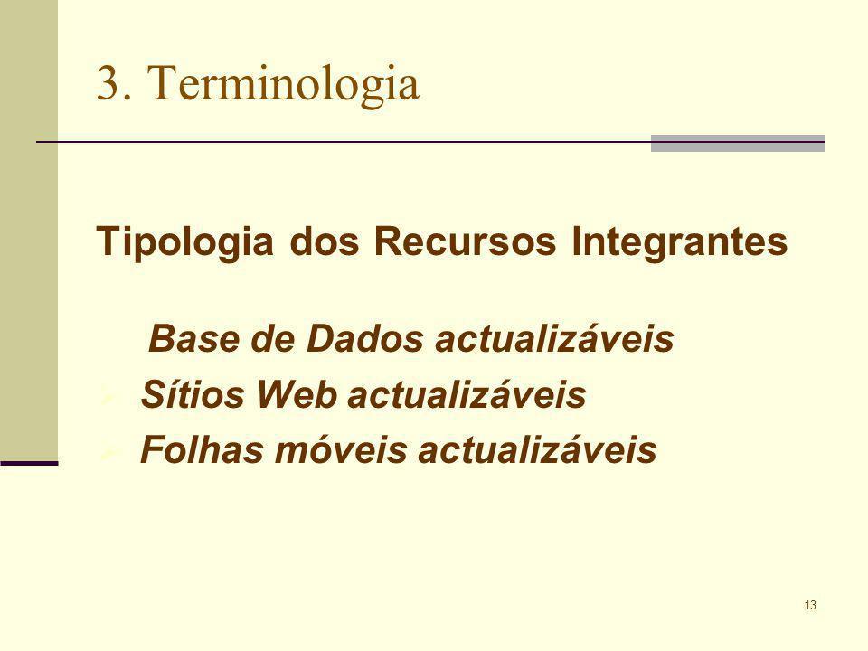 13 3. Terminologia Tipologia dos Recursos Integrantes Base de Dados actualizáveis Sítios Web actualizáveis Folhas móveis actualizáveis