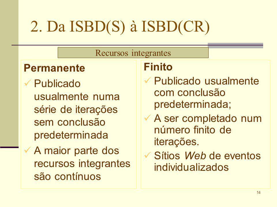14 2. Da ISBD(S) à ISBD(CR) Permanente Publicado usualmente numa série de iterações sem conclusão predeterminada A maior parte dos recursos integrante