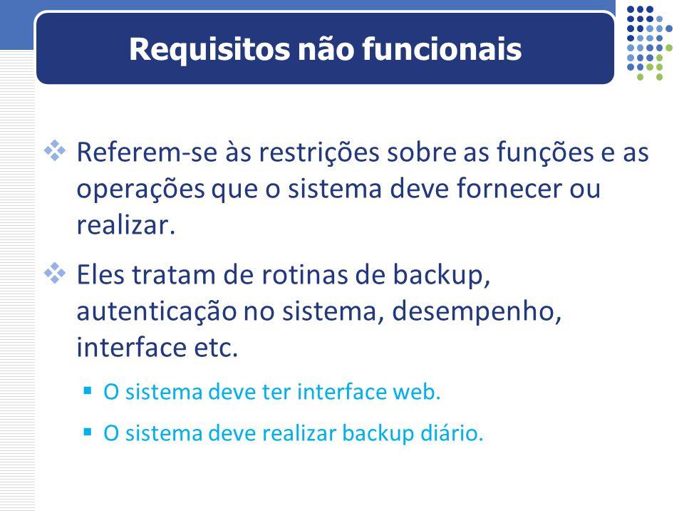 Referem-se às restrições sobre as funções e as operações que o sistema deve fornecer ou realizar. Eles tratam de rotinas de backup, autenticação no si